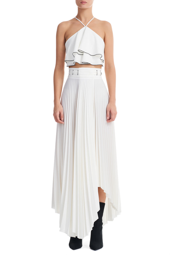 Daisy White Asymmetric Pleated Long Skirt