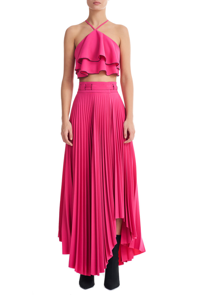 Daysi Pink Asymmetric Pleated Long Skirt