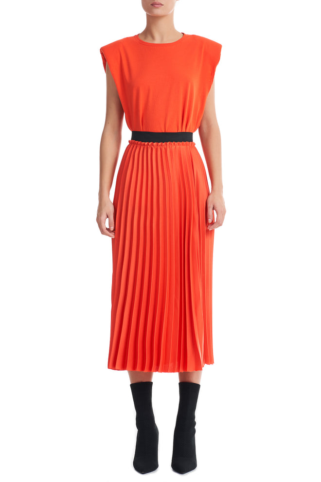 Shea Orange Pleated Midi Skirt
