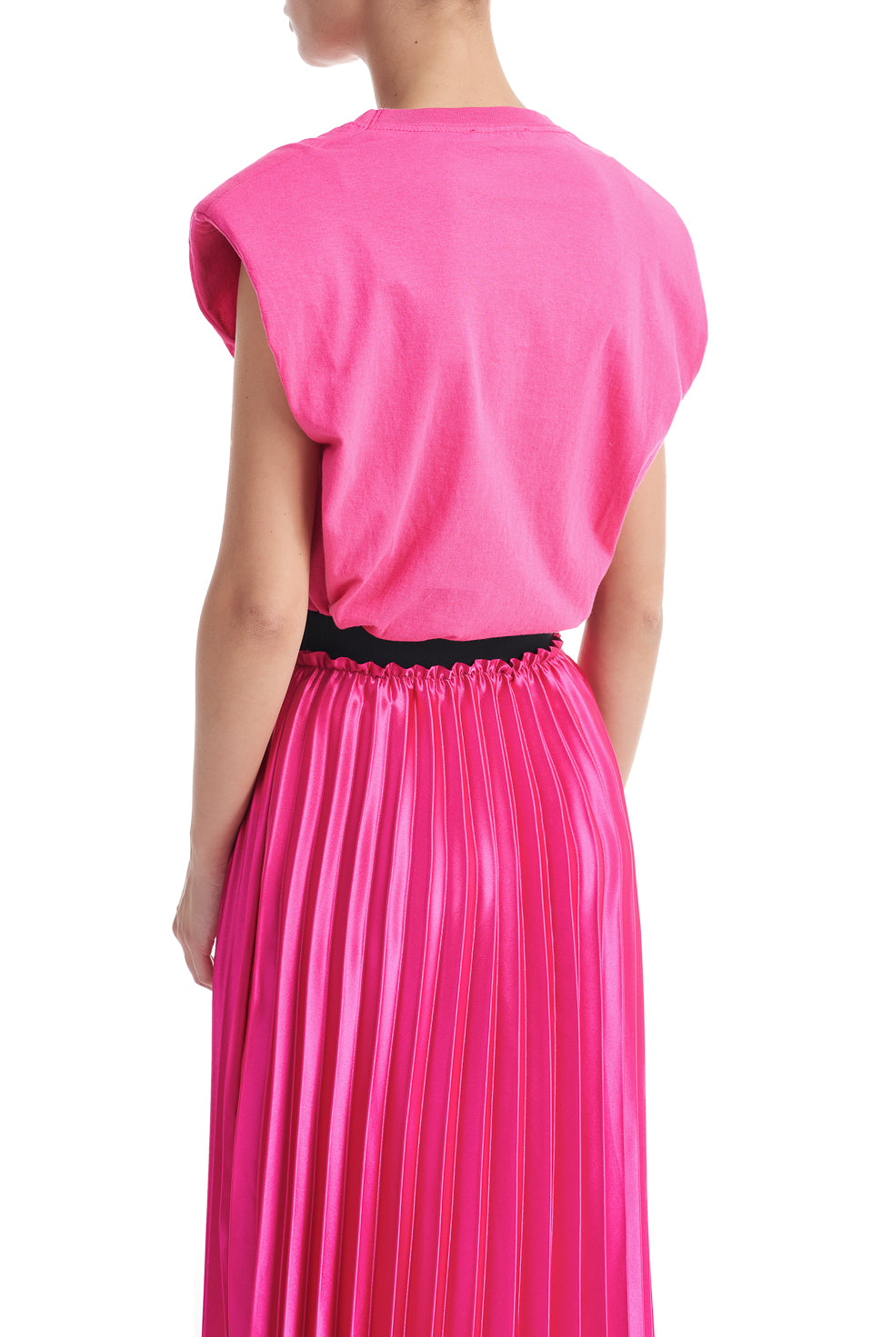 Michelle Pink Sleeveless Shouder Pad Top