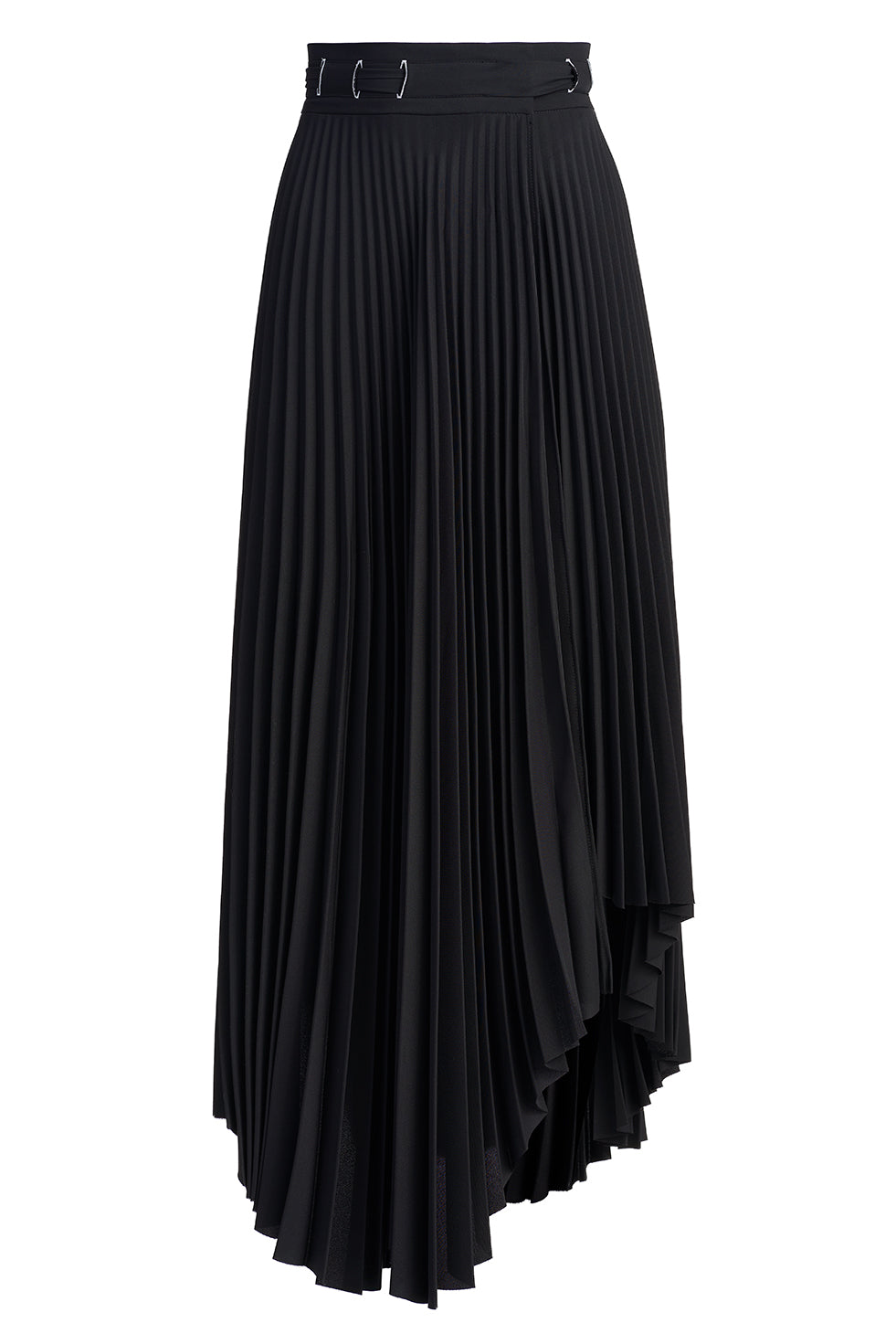 Daisy Black Asymmetric Pleated Long Skirt