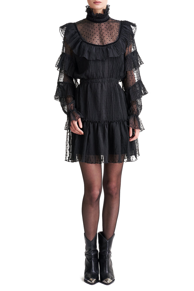 Caroline Sheer Ruffle Dress