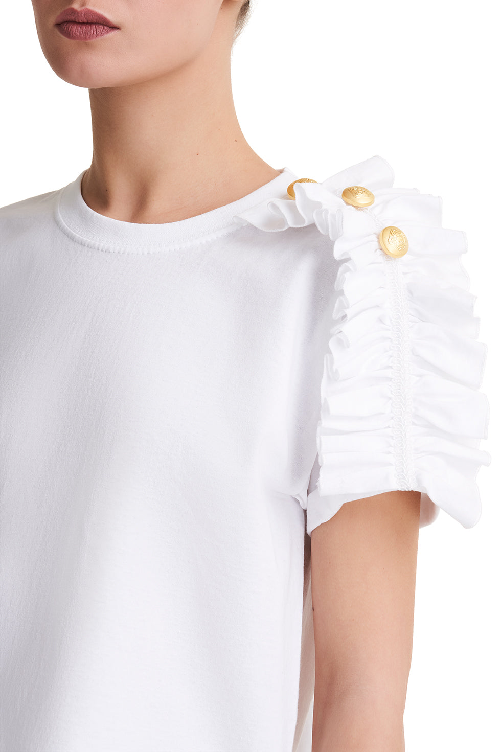 Valerie White Frill Top