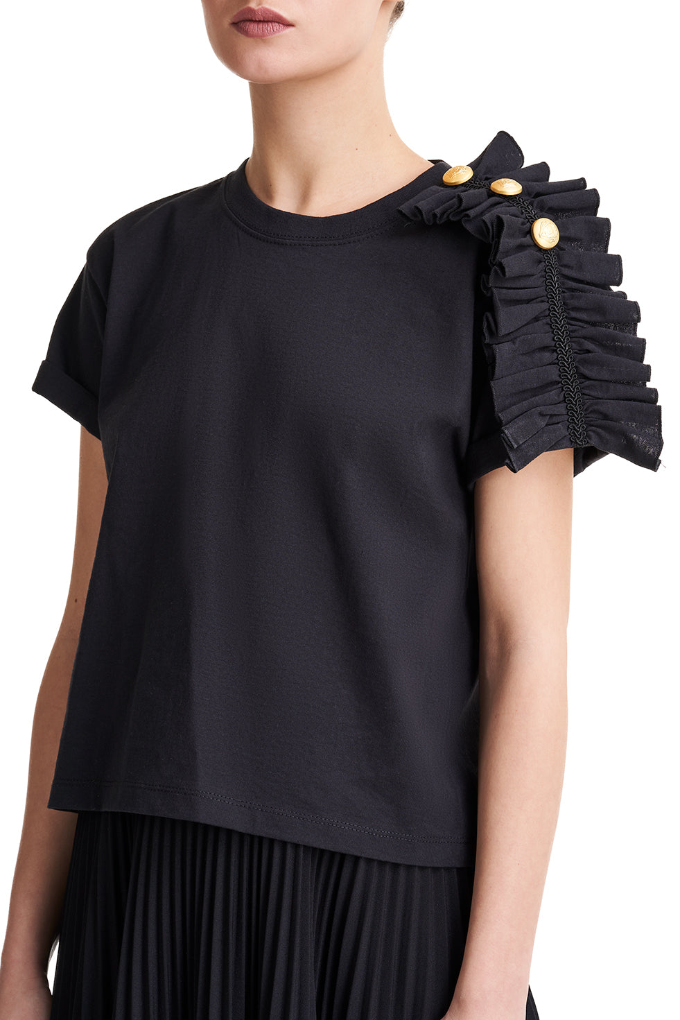 Valerie Black Frill Top