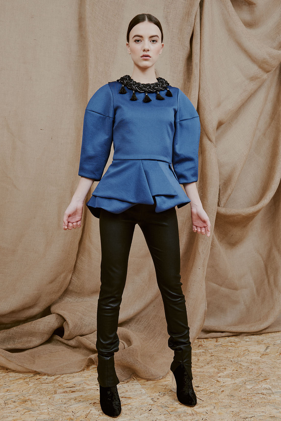 FERIDA blue neoprene peplum top