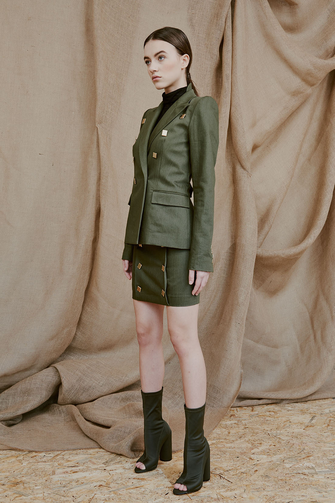 HEDDA green military blazer