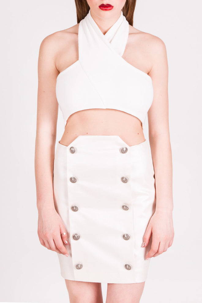 Jhonnes White Pearl Military Skirt