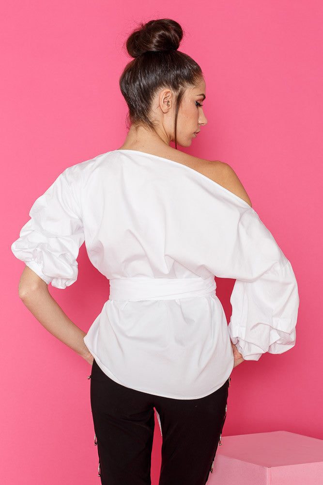 White wrap around shirt