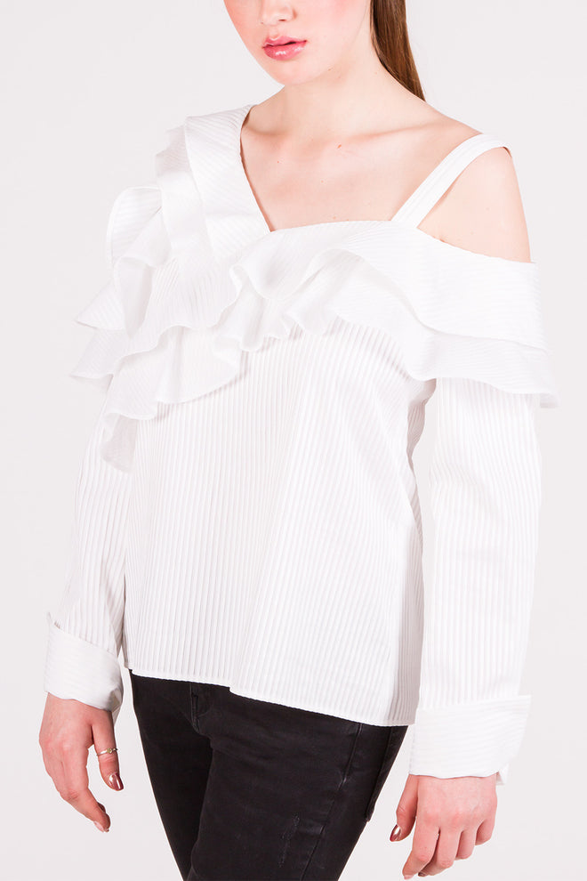 Claire White Ruffled Shirt