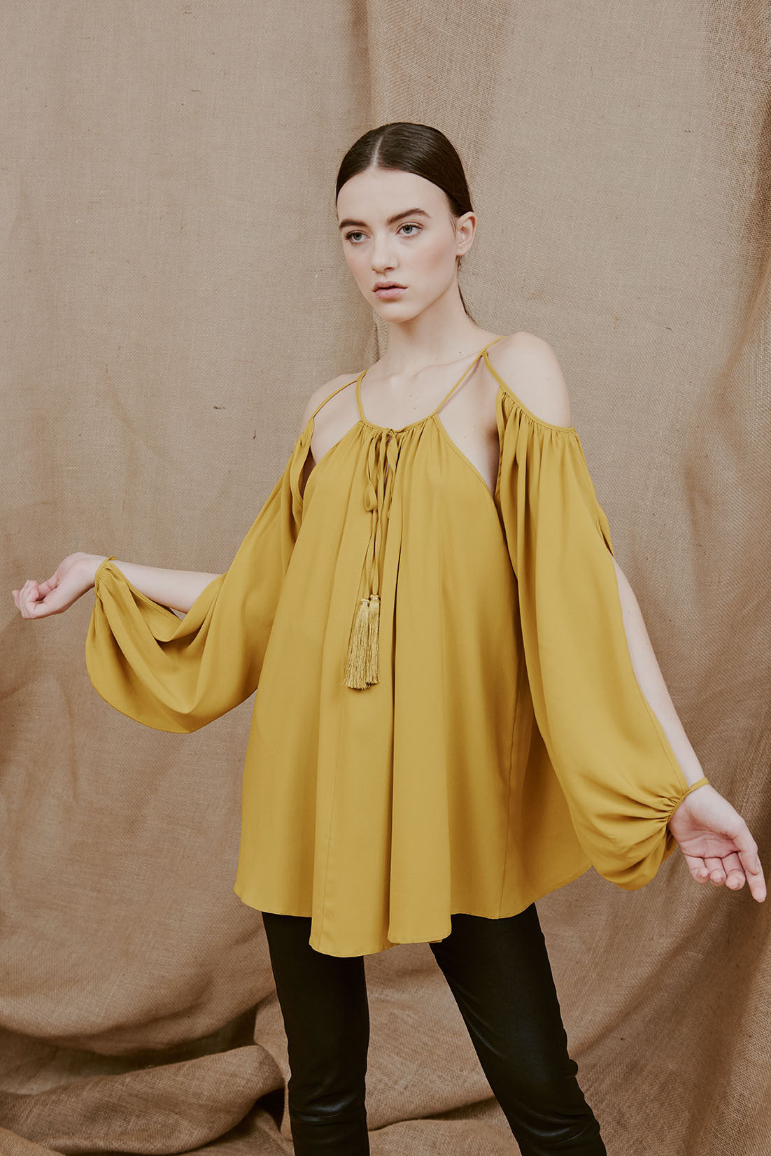 MARI off-the-shoulder tassels top