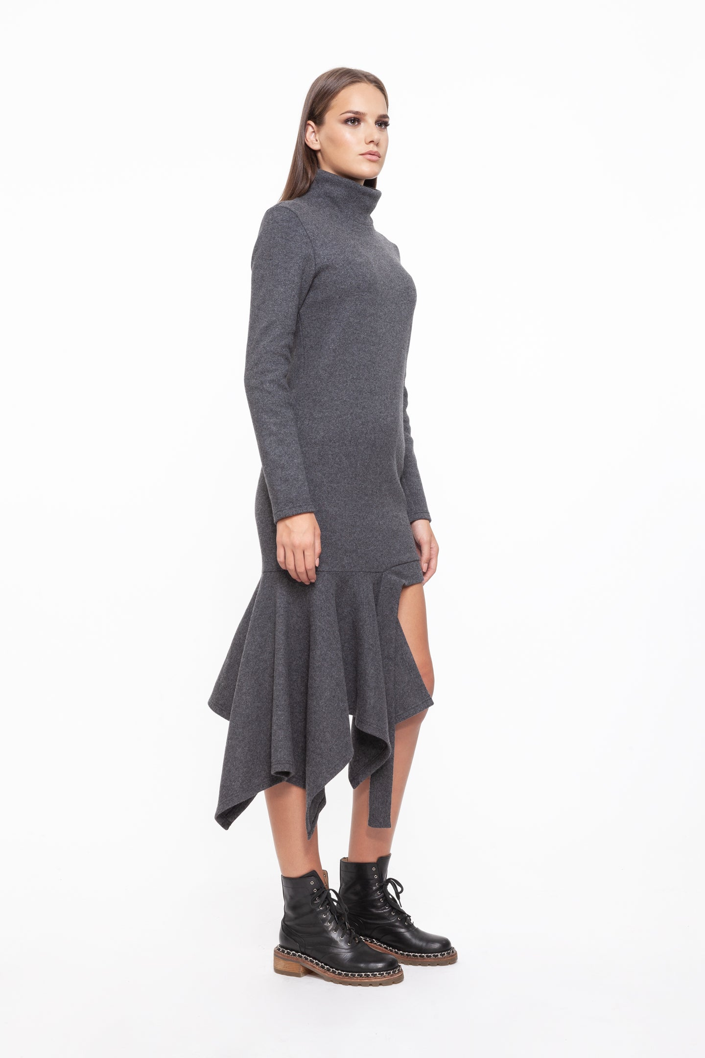 MADISON Grey Polo Wool Dress