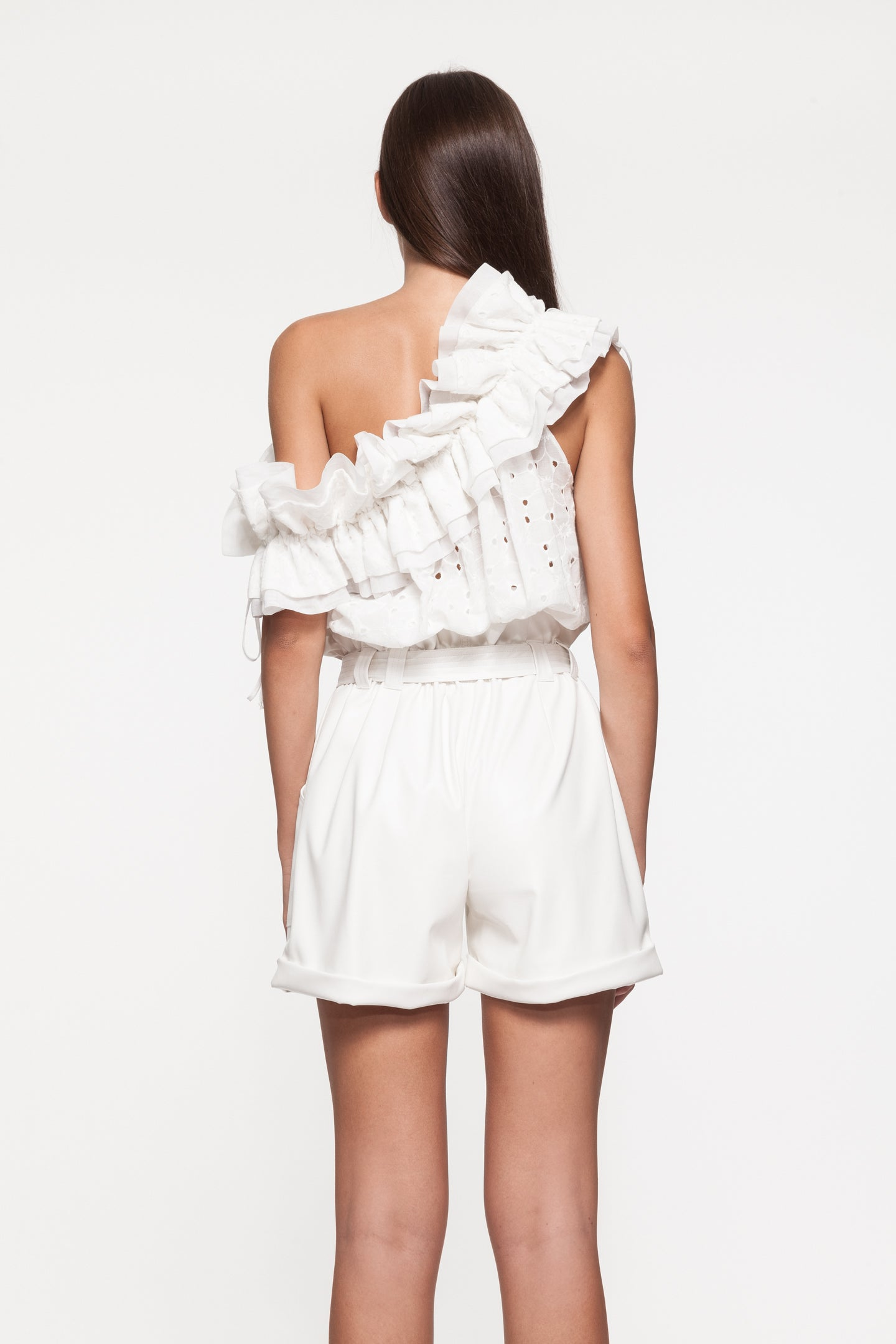 PAIGE White Ruffle Top