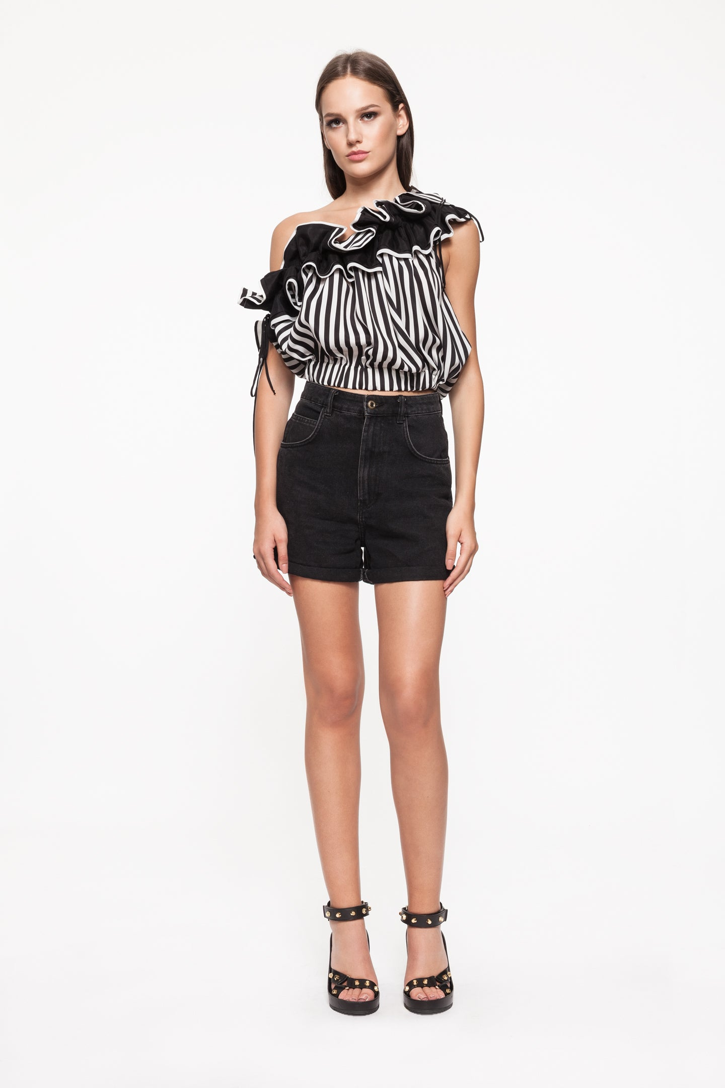 PAIGE Black and White Ruffle Top