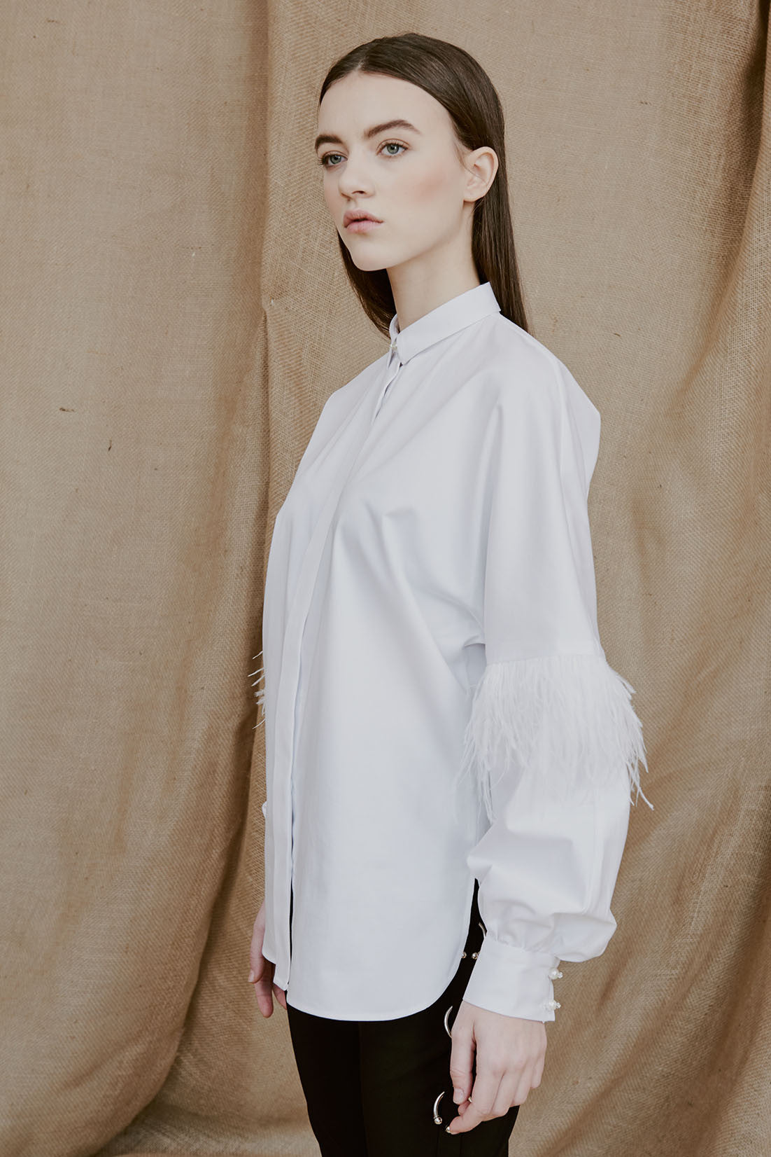 PIA white feathered shirt