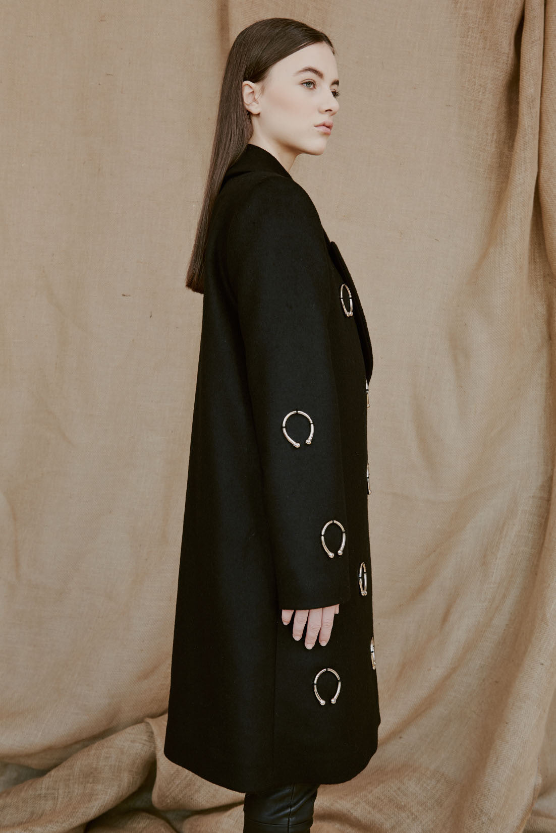 SVEA black wool coat