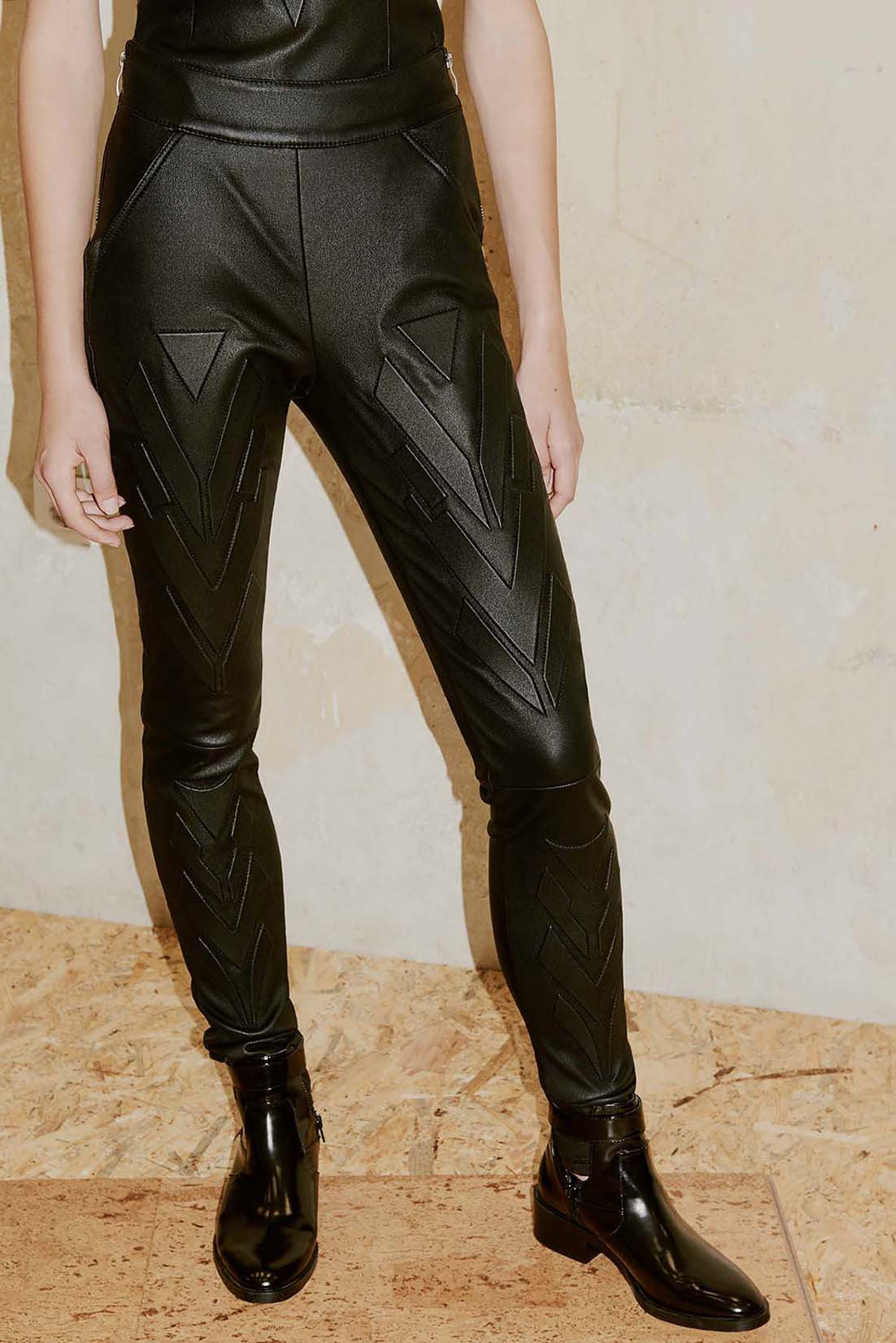 ARIZO geometric leather skinny pants