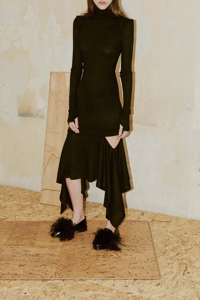 COMA black polo neck dress