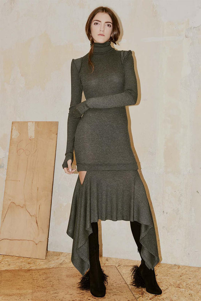 COMA grey polo neck dress