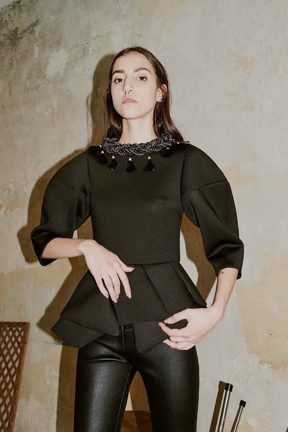 FERIDA black neoprene peplum top