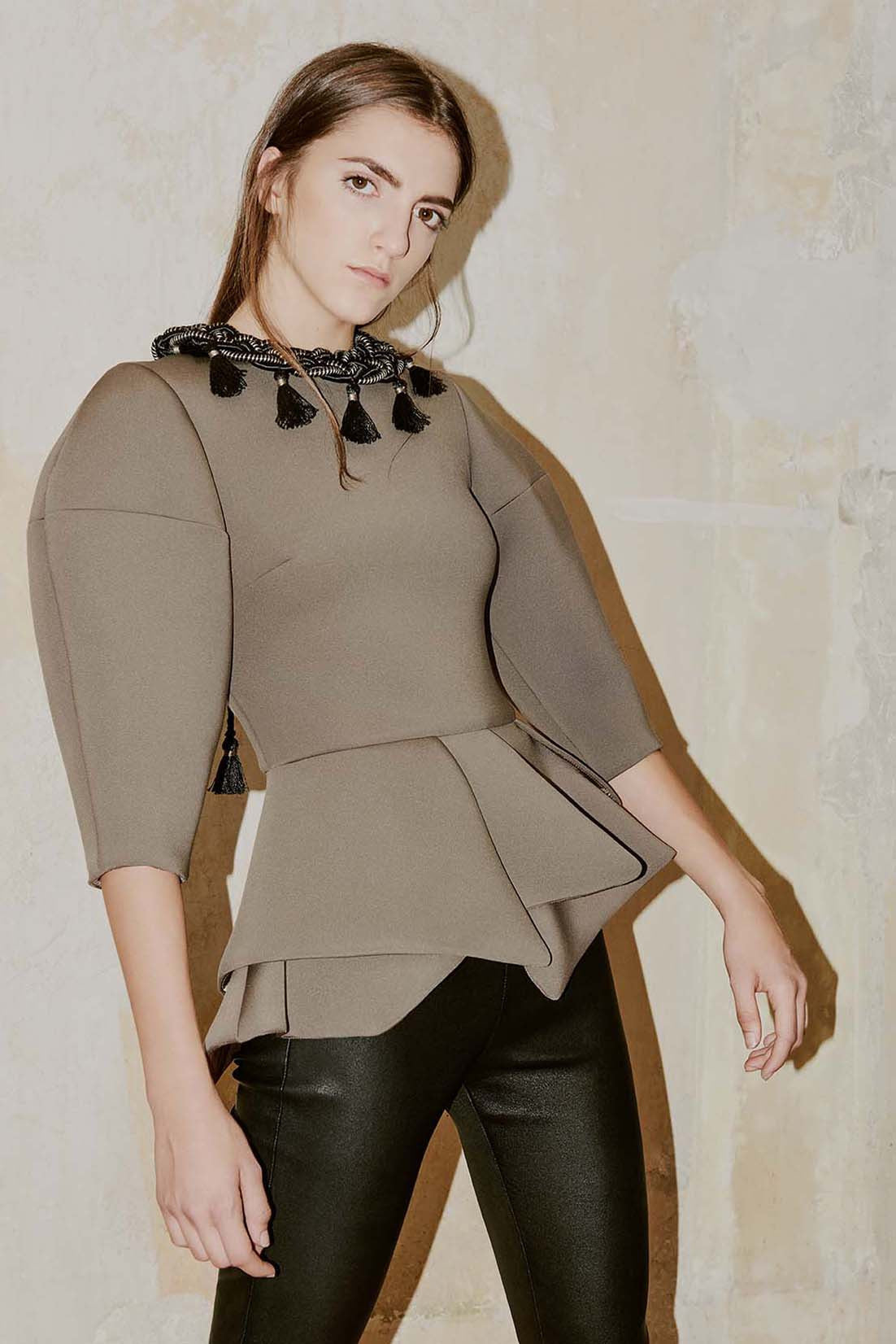 FERIDA dark moka neoprene peplum top