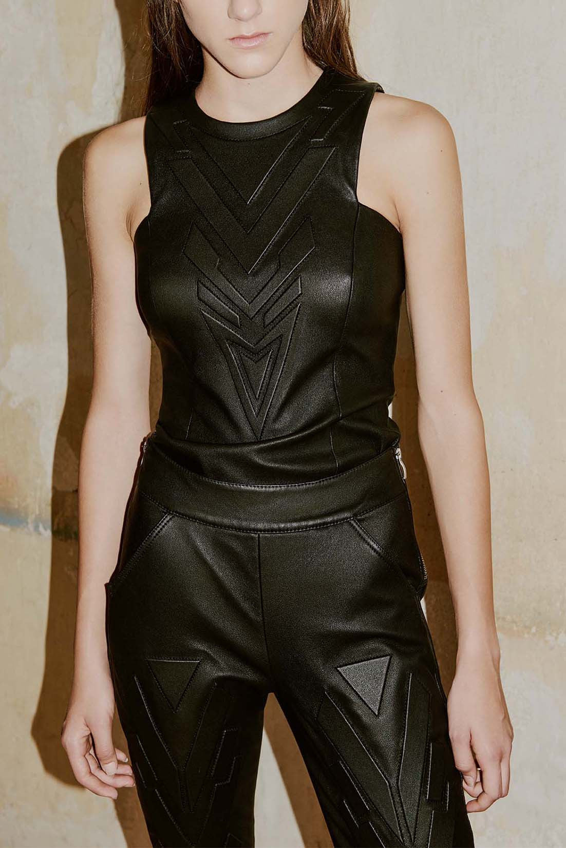 HEGE geometric leather sleeveless top