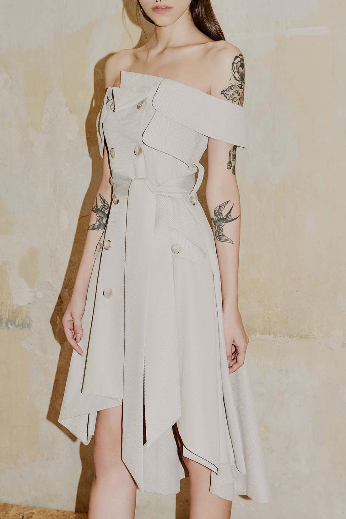 MAYFAIR light moka trench dress