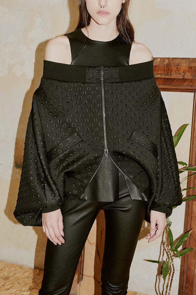 RIKKE off-the-shoulder bomber jacket