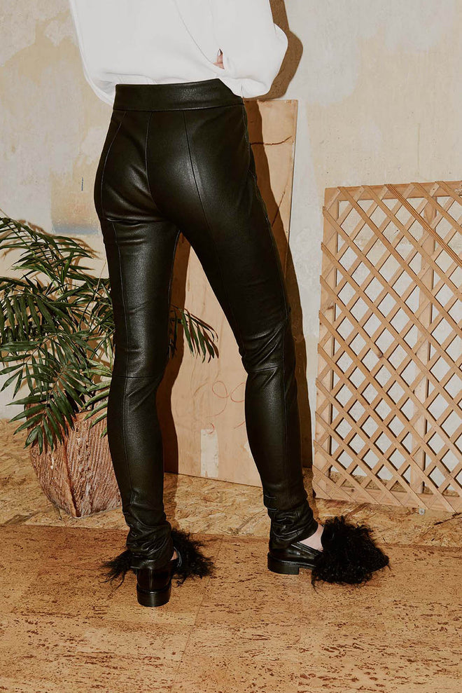 TAMA stitched leather skinny pants