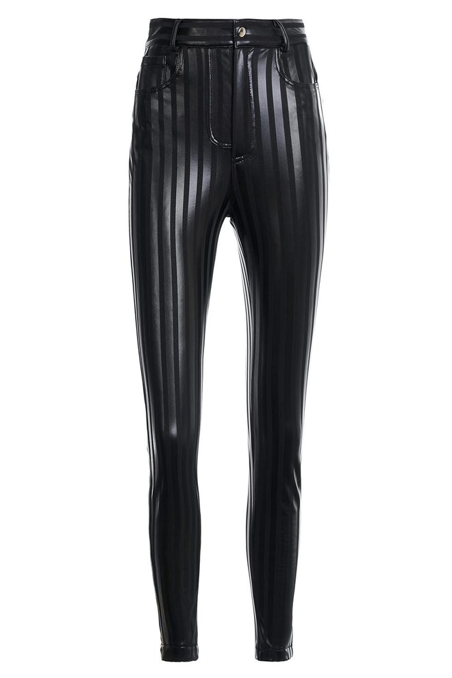 Audrey Striped Faux Leather Leggings