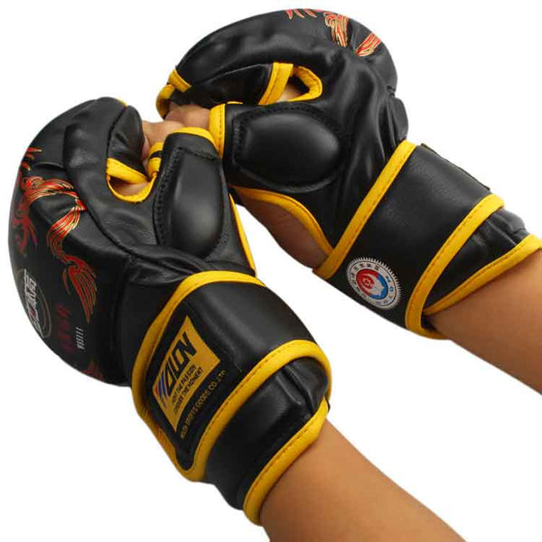 MMA boksning Handske i SORT/GUL - MMA Gloves PU Punching Bag Boxing Gloves
