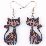 Øreringe til katteelsker - Drop Cat Colorful Earrings
