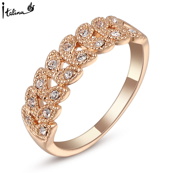 Fingerring - Rose Gold Plated Austrian Engagement Ring