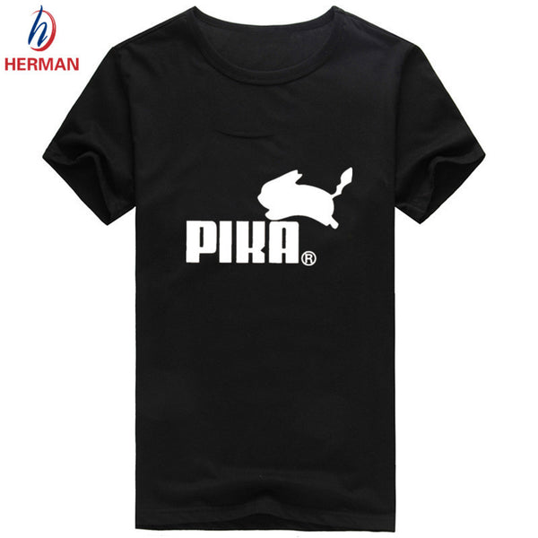 Men's Pokemon Print Tee Shirt Camiseta 2016 Fashion Summer Short Sleeve Manga Pikachu Clothes Women Pika Funny T-shirt,PY011