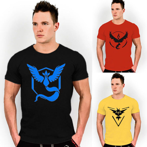 Pokemon Go Mens T Shirt Slim Fit Crew Neck T-shirt  Men Short Sleeve Shirt Casual tshirt Tee Tops Team Mystic Mens Short Shirt