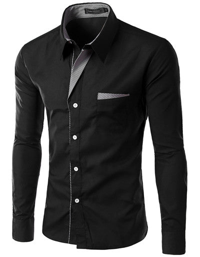 Langærmet herreskjorte i SORT - Long Sleeve Slim Men Shirt (13 Colors)