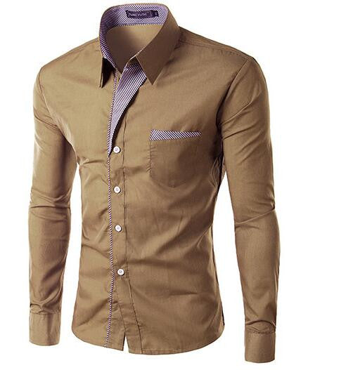 Langærmet herreskjorte i KHAKI  - Long Sleeve Slim Men Shirt