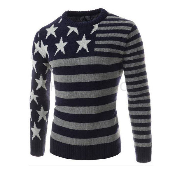 Striktrøje til mænd med Stars & Stripe - Patchwork Star Long Sleeve Sweater