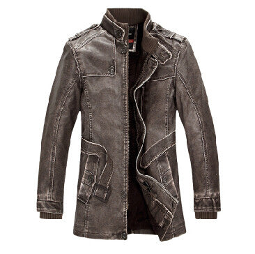 Slim fit læderjakke til mænd i MØRKEBRUN - Slim Warm Mens Leather Jacket