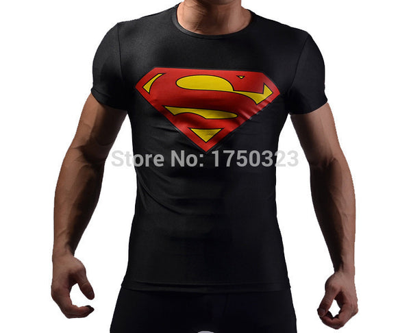 Elastik Fitness T-Shirt med Superman logo - High Elastic Fitness Tights T-Shirts whit Superman logo