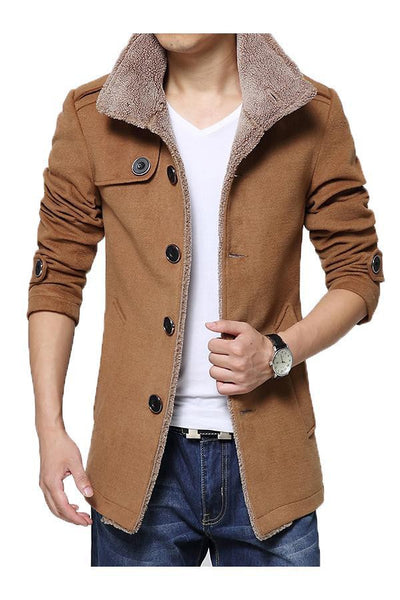 Herrefrakke - Men Casual Slim Fit Trench Coat