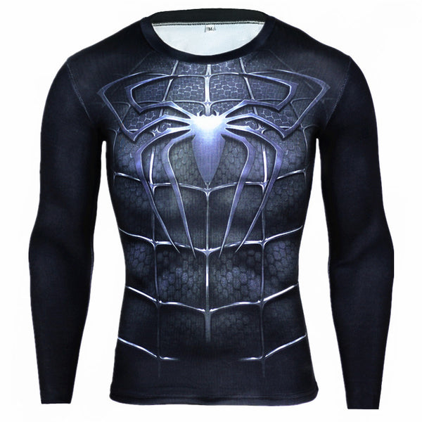Langærmet t-shirt i Spiderman 3D design - Fitness Compression Shirt, Long Sleeve, 3D T-Shirt, Crossfit Shirts