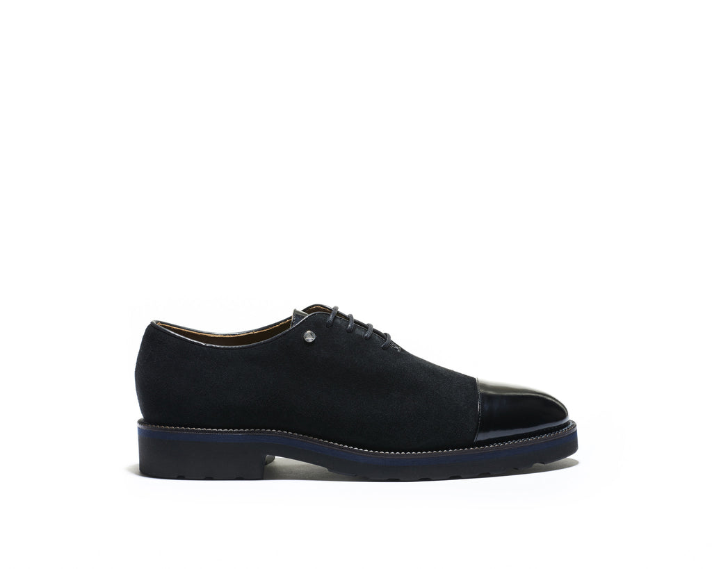 B1611009 - Cap Toe Oxford men shoe (Vesuvio + gardenia) - Black