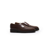 B1611005 - Plain Toe derby men shoe (woven) - Brown