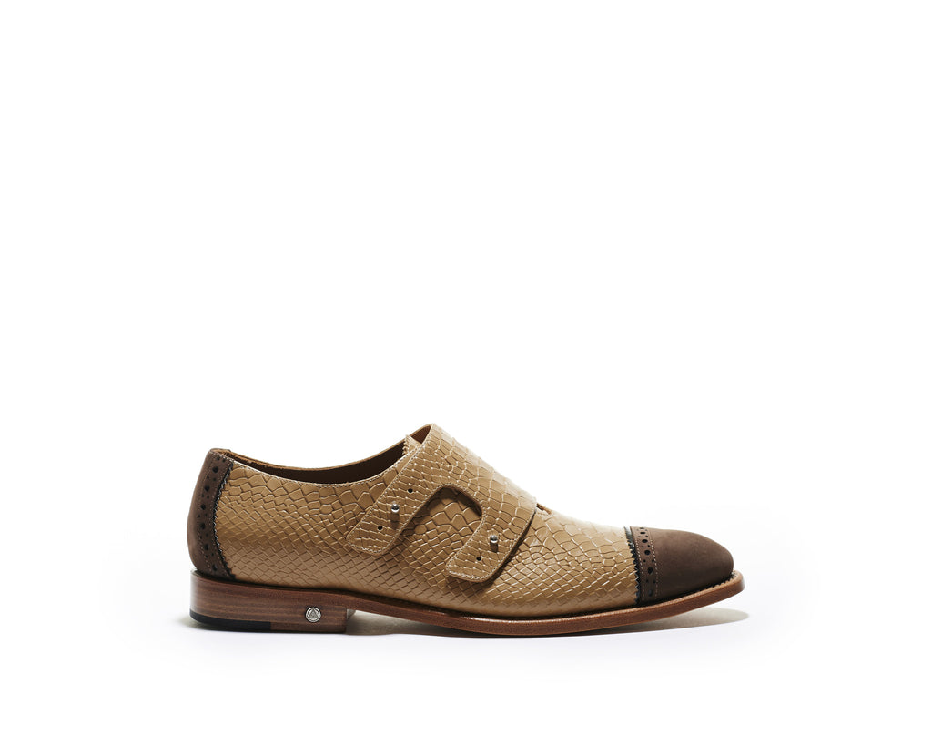 B1611019 - Double Monk men shoe (embossed) - Cappuccino