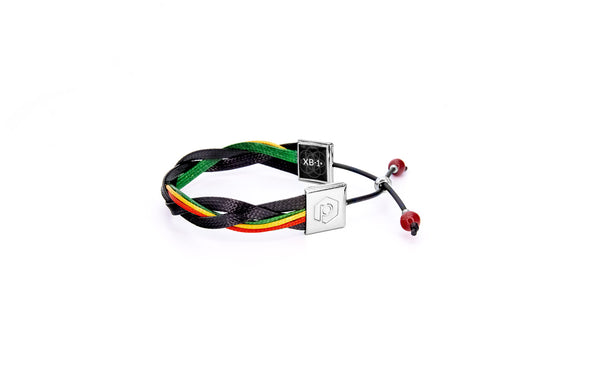 Pinnaband XB-1+ Easy Adjustable Lightweight Wristband (Anklet) | Black Minimalist Rasta