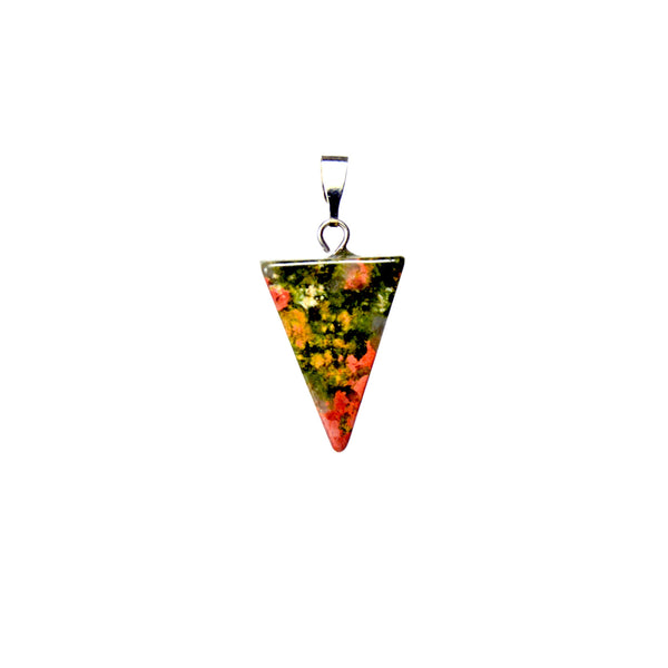 Triangle Natural Unakite Gemstone Pendant