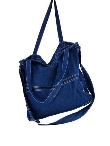 Topstitched Denim Bag