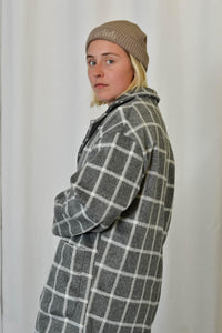Unisex Coat in Grey Check