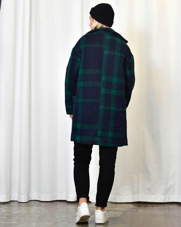 Unisex Coat in Green & Blue Check - Artclub and Friends