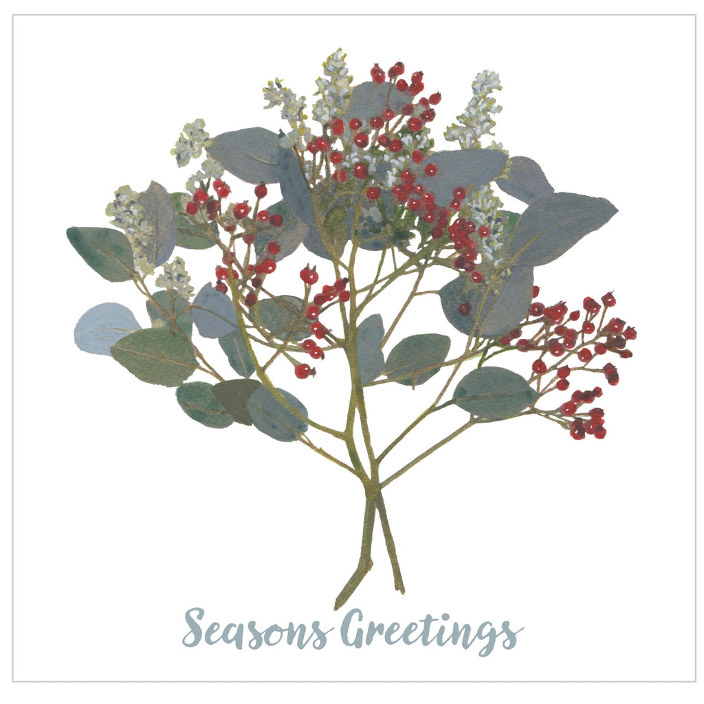 Lush Berries, Gray : Pack of 10 Christmas Cards